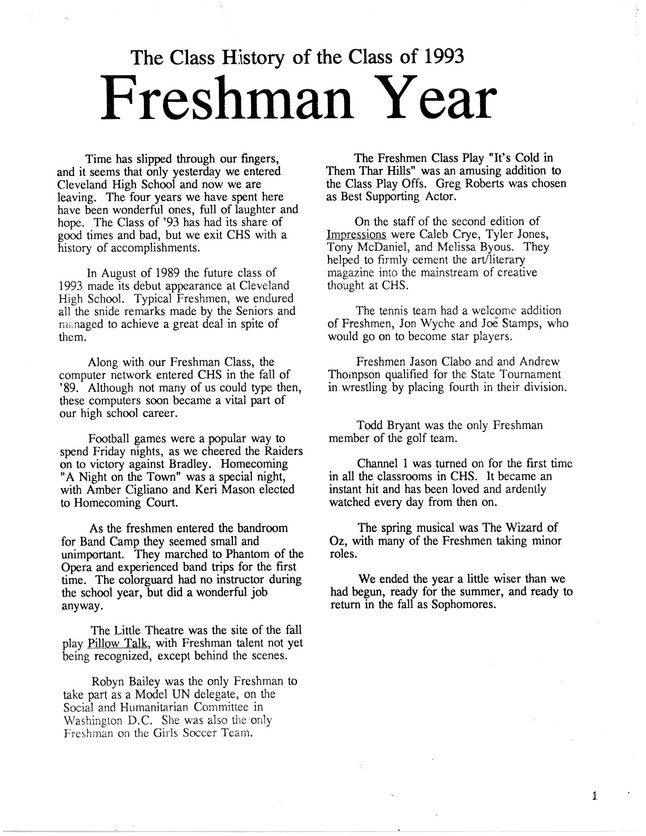 freshman year essay This article talks about each year of high school, starting from freshman year going all the way to senior year have you ever thought ahead to what the next few years of your life may consist of whether you are a freshman, senior, or even just enjoying high school, lets take a look at what you.