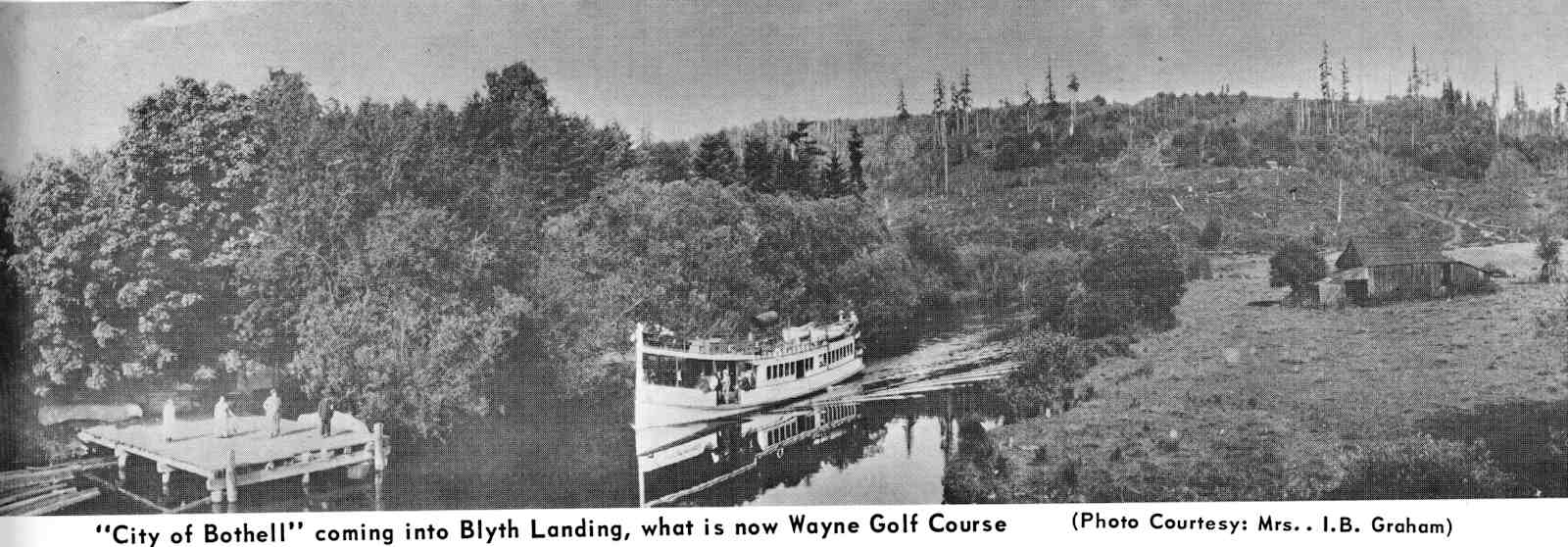 Ferry -City of Bothell- coming into Blyth Landing (now Wayne Golf Course)