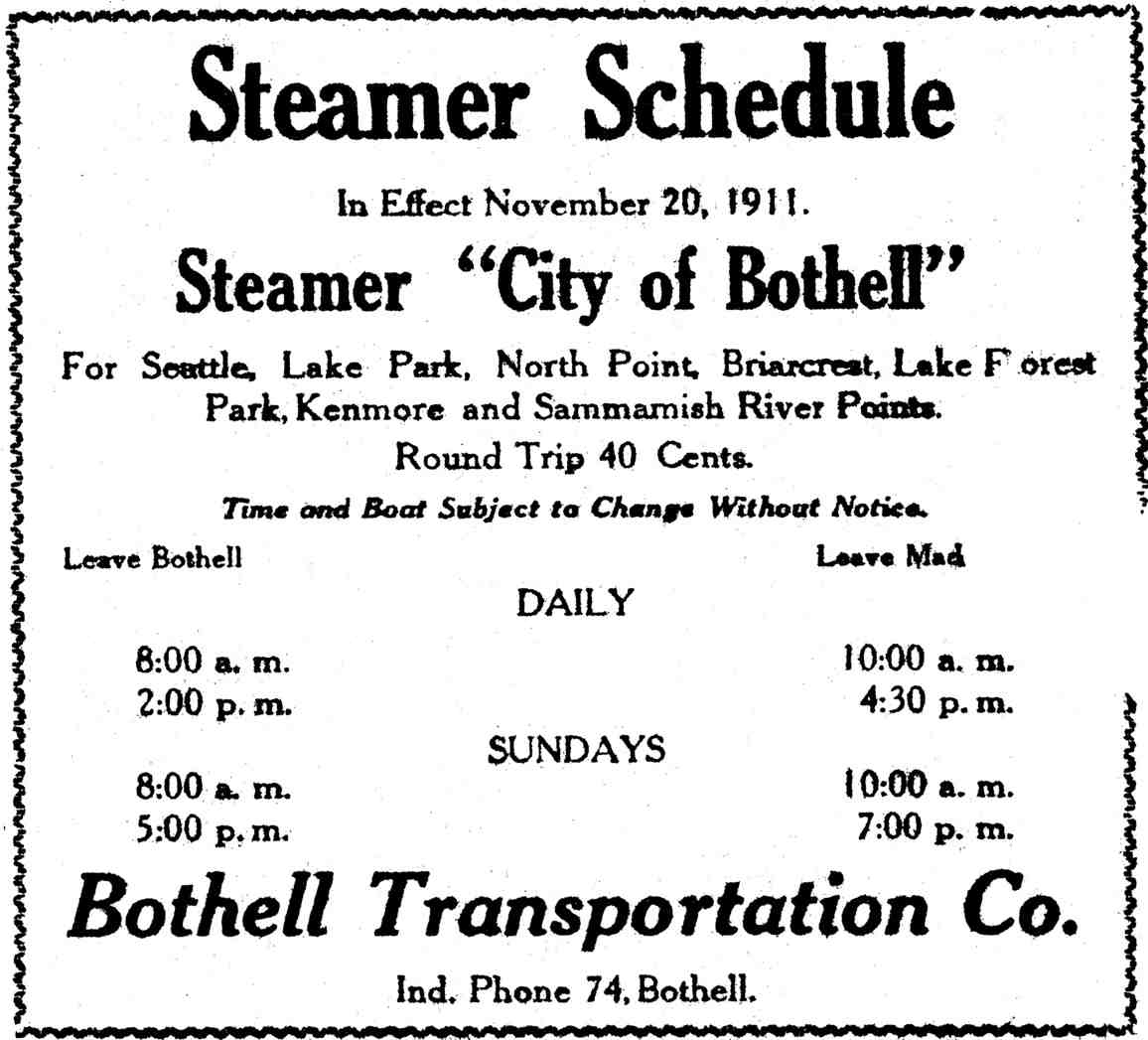 1911 City of Bothell Schedule