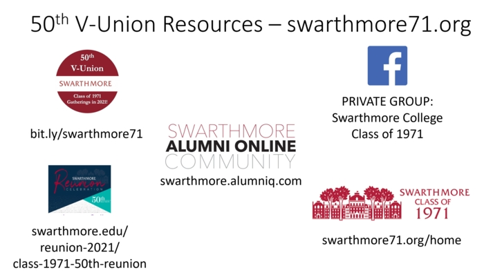 Go to swarthmore71.org for links to other resources.